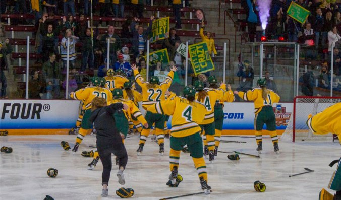The Clarkson Golden Knights celebrate Elizabeth Giguère's overtime goal in the 2018 NCAA Tournament championship game.