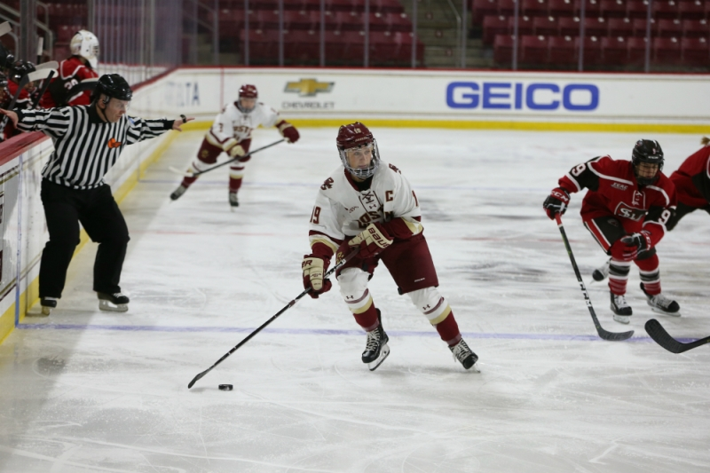 Makenna Newkirk of Boston College skates with the puck in a game against St. Lawrence. (John Quackenbos/BC Athletics)