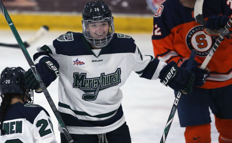 Mercyhurst's Sarah Hine celebrates during a game against Syracuse. (Ed Mailliard/Mercyhurst Athletics)