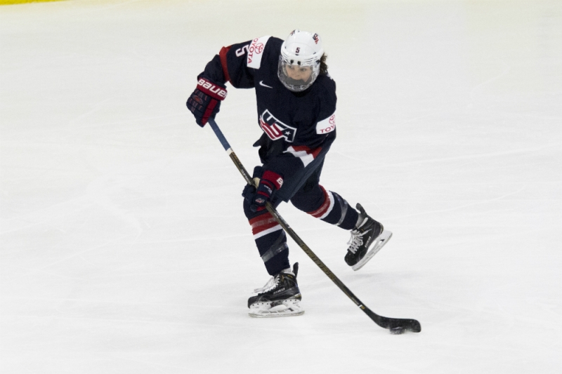 Megan Keller of Team USA with the puck on her stick in a game against Germany at the 2017 IIHF Women's World Championship. (Michelle Jay)