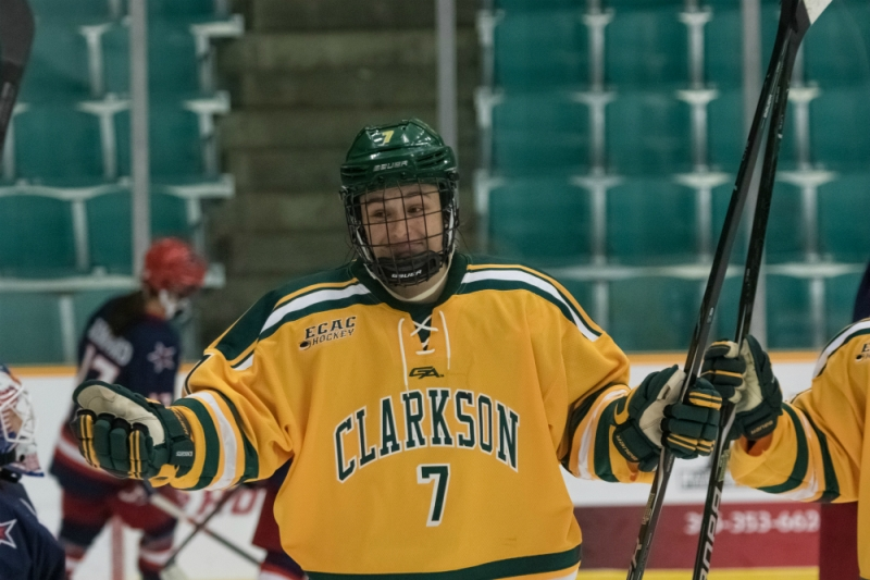 Elizabeth Giguère of the Clarkson Golden Knights celebrates a goal. (Clarkson Athletics)