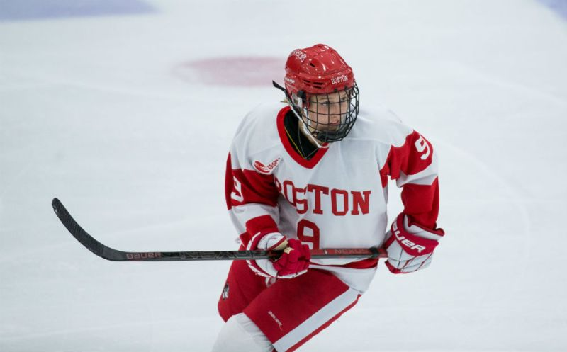 Defender Abby Cook of Boston University skates up the ice. (Rich Gagnon/Boston University Athletics)
