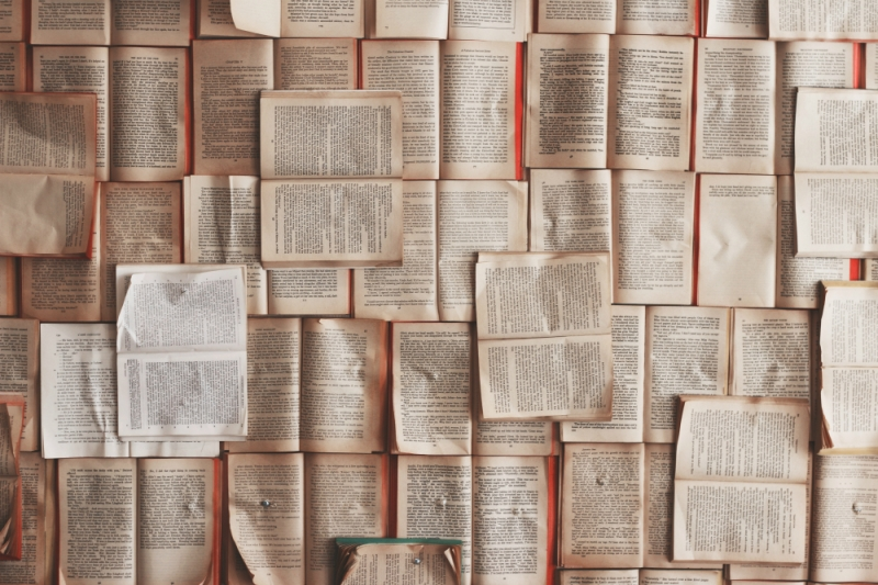 A collage of open book pages. Photo by Patrick Tomasso on Unsplash.