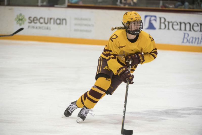 Minnesota Golden Gophers forward Grace Zumwinkle skates up the ice with the puck. (Craig Lassig/Gopher Athletics)