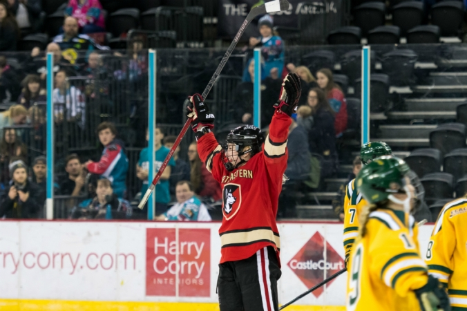 Forward Kasidy Anderson of Northeastern celebrates a goal against Clarkson during the Friendship Series in Belfast, Northern Ireland. (William Cherry/Presseye)