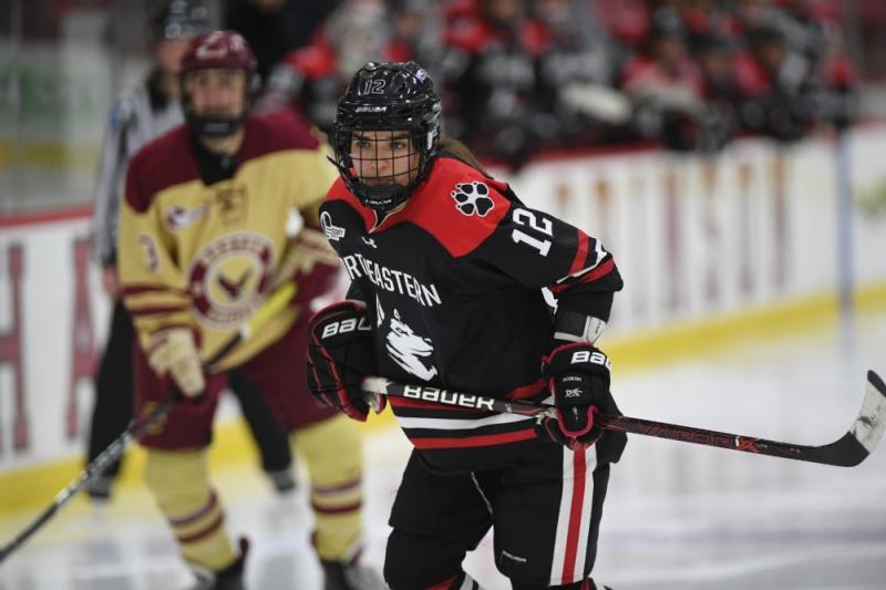 Chloe Aurard of the Northeastern Huskies in a game against Boston College. (Northeastern Athletics)