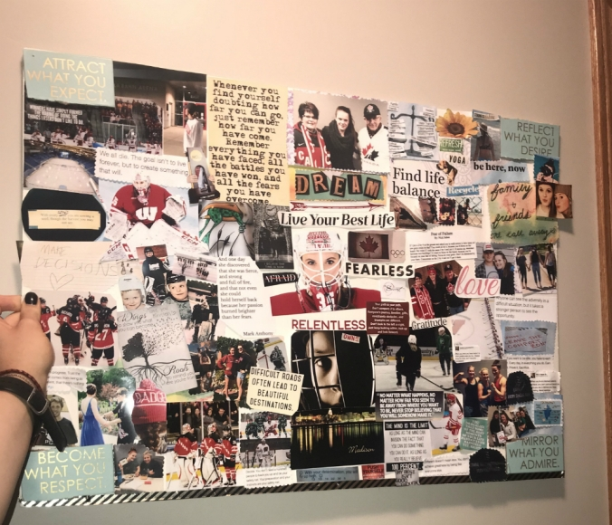 A collage of quotes, phrases, photos, and other cutouts, all pasted together on to a poster board.