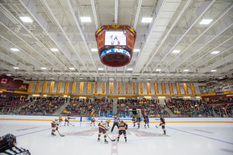 Minnesota and Princeton line up for the faceoff to open the third period of their NCAA Tournament quarterfinal game at Ridder Arena. (Jim Rosvold/Gopher Athletics)