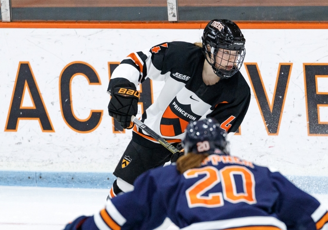 Princeton captain and defender Claire Thompson handles the puck in a game against Syracuse during the 2019-20 season.